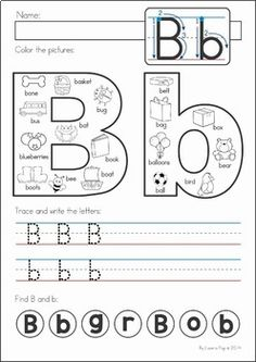 Kindergarten Back to School Math & Literacy Worksheets and Activities. A page from the unit: Beginning Sounds / Handwriting / Letter Identification page Más Homeschool Kindergarten, Kindergarten Reading, Preschool Learning, Preschool Activities, Teaching Kids, Homeschooling, Kindergarten Freebies, Preschool Class, Teaching Resources