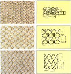 Условные обозначения спицами Узор ромбы Узоры дырчатые Узоры сетка