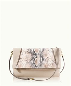 Taupe Carly Convertible Clutch, Embossed Washed Python Leather