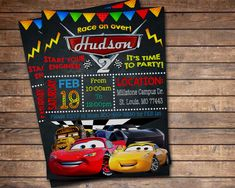 Cars Invitation, Cars Birthday Invitation, Cars 3 Invitation, Cars Party, Cars 3 Party, Cars Birthday Invite by FairytaleinvitStudio on Etsy https://www.etsy.com/listing/591395449/cars-invitation-cars-birthday-invitation