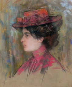 Woman in a Pink Hat - Stefan Luchian - (Romanian: Contemporary History, Female Art, Art Nouveau, Art Gallery, Drawings, Illustration, Pink Hat, Image, Paintings