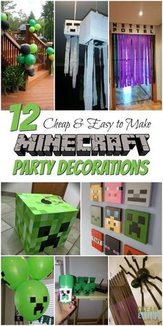 How to Host a (Cheap!) Minecraft Birthday Party (with Printables & Step by Step Party Planner) - Clean Eating with kids How to Host a (Cheap!) Minecraft Birthday Party (with Printables & Step by Step Party Planner) - Clean Eating with kids Minecraft Birthday Decorations, Craft Minecraft, Diy Minecraft Birthday Party, Birthday Party Games, 6th Birthday Parties, Diy Birthday, Minecraft Party Games, Minecraft Pinata, 10th Birthday