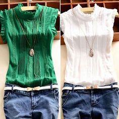 De mujer con cuello reffle Blusa de gasa Camisas OL Informal Camiseta Prendas para el torso de verano