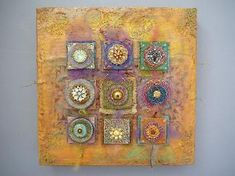 encaustic and clay mixed media by laurie mika