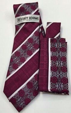 Stacy Adams Tie & Hanky Set  Light Burgundy, White & Gray Men's Hand Made #StacyAdams #Tie