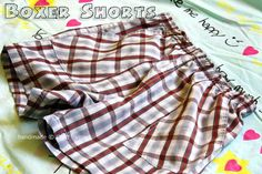 boxer shorts pattern -- LOL what would my hubby say if I started sewing his boxers??? Def would be cheaper, but that might be a bit much! lol