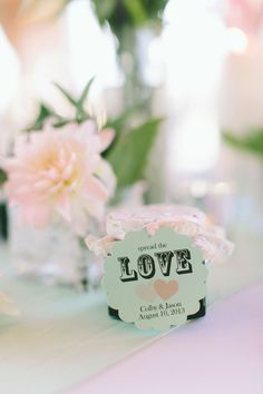 Personalized Glass Favor Jars #weddings #bridalshower #personalized #favors