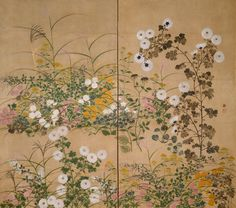 Flowering Plants In Autumn -- Details Attributed to Ogata Korin (1658-1716)