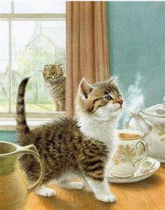 Art by Sarah Fox-Davis. #tea #cats #art #cute