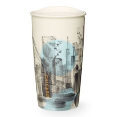 A double-walled, ceramic travel mug that captures the spirit of Chicago with a sprawling cityscape in colors from the state flag, part of the Starbucks Dot Local Collection.