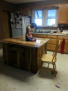 Kitchen Island Out Of Pallets kitchen island made out of wood pallets. | creations | pinterest
