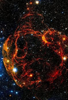 Spaghetti Nebula (Simeis 147) Located between the Auriga and Taurus constellations, this supernova created a really unique remnant after the major explosion. The filaments of material that were left behind in the supernova remnant emit a strong radio signal, and produce a beautiful wispy visual. Wikipedia / Digitized Sky Survey,  expanse.collectivepress.com ESA/ESO/NASA FITS Liberator
