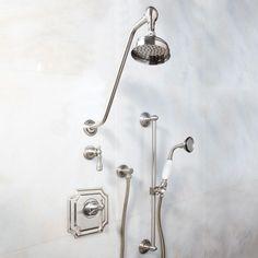 Vintage Pressure Balance Shower System - Dual Shower Heads and Hand Shower - Lever Handle - Bathroom Bathroom Shower Panels, Shower Fixtures, Steam Showers Bathroom, Shower Faucet, Shower Tub, Bathroom Faucets, Shower Jets, Rainfall Shower, Rain Shower