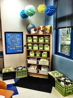 Classroom Organization and Decorating - reading area with Dr. Seuss poster, reading goal bulletin board, bucket-filler board, student book recommendation board, writing center, agenda board, calendar/student center, etc.