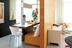 Room divider and kitchen banquette in one