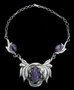 Necklace   Designer unknown. Silver, and amethyst   ca. 1930s - 1940s, Mexico
