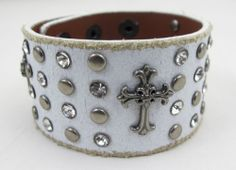 White Leather Cross Cuff Unisex Studs Rhinestones Bracelet Wristband Rocker NEW