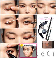 korean makeup, makeup tutorial Makeup Dupes, Skin Makeup, Monolid Makeup, Makeup Brushes