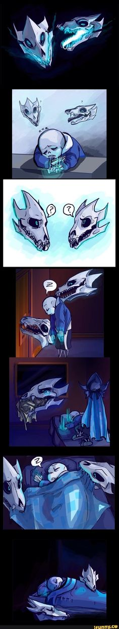How cute! Sans gasterblasters are so sweet to him