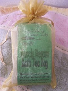 Muscle Rescue Bath Tea Bag Set by The Traveling Soap Lady. $12.00. Three tea bags in an organza bag - great gift for the person who works hard!. Each one can be used several times if allowed to dry completely. Great way to soothe those aching muscles!. All natural herbs. This is a great addition to any bath! The herbal ingredients will soothe the muscles and awaken you with renewed energy! What a great way to bounce back!. Save 20% Off!
