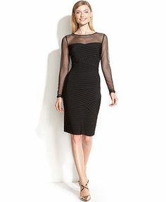 Calvin Klein Dress, Long-Sleeve Illusion Shutter-Pleat Sheath