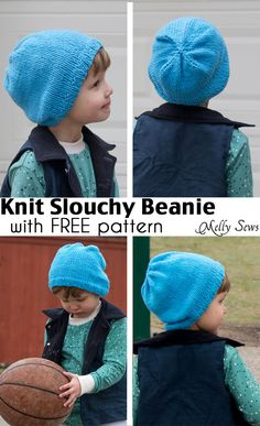 Easy gift to knit - Slouchy knit beanie pattern for any size with a FREE pattern from Melly Sews