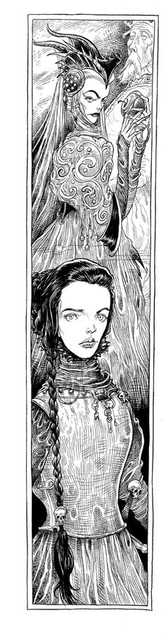 """Chris Riddell.  """"The Queen's past: The long thin illustrations enabled me to pick a lot of visual storytelling into each page. Here the Queen's wicked stepmother holds a poisoned apple while her actual mother, long dead, is in the foreground."""""""