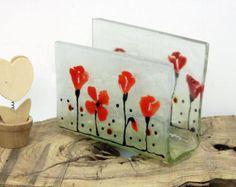 Servilletero de vidrio fundido paisaje de pájaros por virtulyglass