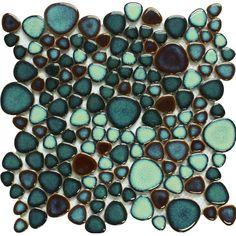 Green Porcelain Tile Pebbles Bath Wall Backsplash Tiles Glazed Ceramic Mosaic Kitchen Walls GPP619A