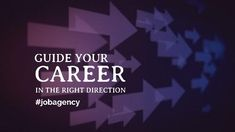 A creative job vacancy video template. A wine background with arrows pointing to the right with white text displaying 'Guide your career in the right direction.