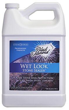 Black Diamond 679773003916 Wet Look Stone Sealer Give Gloss to Pavers, Stone , Slate, Concrete, Brick, Block Sandstone, Driveways, Garage Floors Black Diamond