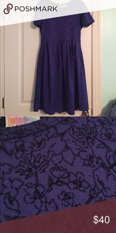 Floral Amelia Worn once! Gorgeous violet/blue Amelia Dress with black floral design. This is jacquard material and is so, so flattering ☺️ LuLaRoe Dresses