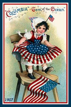 Patriotic Children 1907 by Ellen Clapsaddle (1865-1934) printed on cotton. Ready to sew.  Single 4x6 block $4.95. Set of 4 blocks with pattern $17.95.