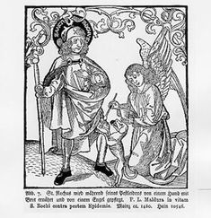 St Roch engraving, possibly German, 1480s?