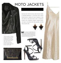 """Moto Jackets"" by katsin90 ❤ liked on Polyvore featuring Carvela Kurt Geiger, River Island, Louis Vuitton, Paige Denim, Jessica McClintock and motojackets"