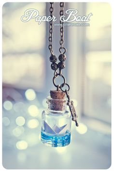 Paper Boat bottle Necklace Ocean necklace Glass Vial by Vhea, €11.99