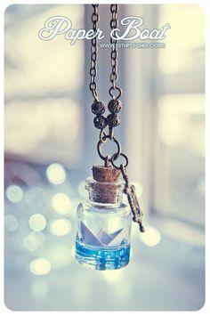 Paper Boat bottle Necklace Ocean necklace Glass Vial by Vhea, €11.99