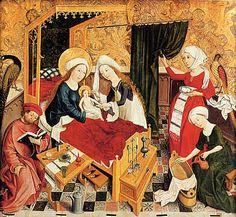 Wohnverhältnisse Oberrheinischer Meister: Die Geburt Mariens. Um 1460/65 Aprons, notice the embroidered apron too.