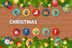 cool Christmas Flat Icons Set  CreativeWork247 - Fonts, Graphics, Themes, T...