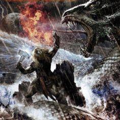 Thor battling Jormangandr at Ragnarok