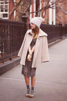 Emilee Anne wearing Isabel Marant x H&M Dress // Cole Haan Wool Coat // ASOS Angora Beanie // Swedish Hasbeens Savannah Sandals // H&M Metallic Socks