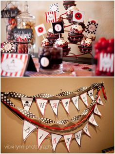 Pirate party - like the red and black cupcakes and the banner with streamers
