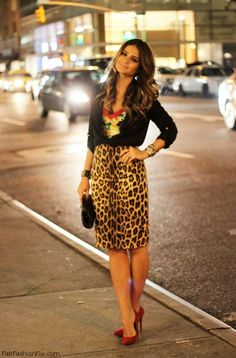 Love for animal print pencil skirt