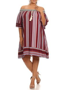 Description - Patterned stripe printed off the shoulder a-line dress with 3/4 sleeves, embroidered elastic neckline, and tassel embellishment at neckline. - 100% Rayon - Fabric has no stretch - Unline
