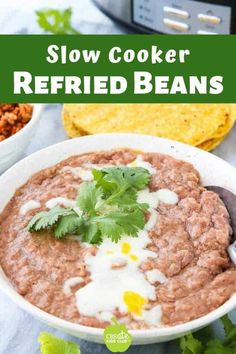 These vegan restaurant style beans work well in endless dishes. This post gives ideas on how to use and what to do with them along with instructions on freezing refried beans. Refried Beans Healthy, Mexican Refried Beans, Crockpot Refried Beans, Mexican Restaurant Refried Beans Recipe, Easy Bean Recipes, Vegan Crockpot Recipes, Slow Cooker Recipes, Healthy Recipes, Cinco De Mayo