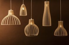 Lighting Range by Minima Minima's new range of light coverings throw shadows rather than provide shade. Made from Austrian birch plywood,. Wood Pendant Light, Pendant Lighting, Home Lighting, Lighting Design, Ceiling Lighting, Lampe Laser, Bamboo Light, Luminaire Design, Wood Lamps