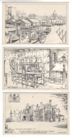 Victoria Wharf, Olde England Inn and Government House, Victoria, BC, c1940, Edward Goodall, pencil sketches as printed postcards, 3 x 5 in., Victoria, BC, Canada