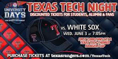 Fri. 6/3 is Texas Tech Night at The Rangers. Discounted tickets for students, alumni & fans http://TexasRangers.com/TexasTech