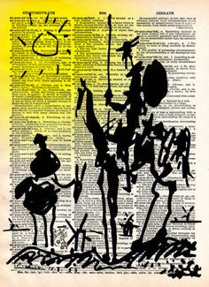 Don Quixote Print, Picasso drawing, vintage dictionary art print
