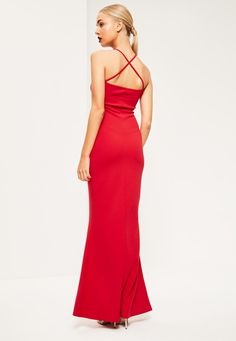Missguided - Red V Bar Cross Front and Back Maxi Dress